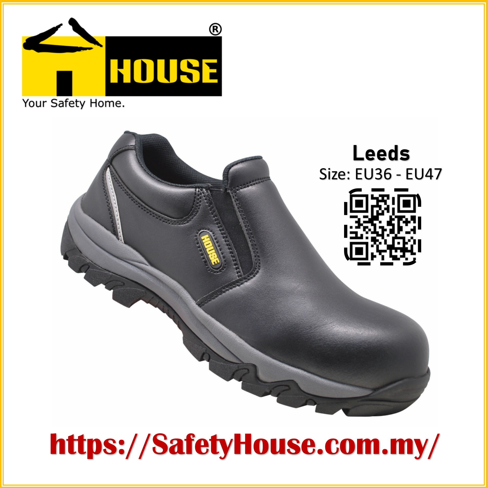 HOUSE LEEDS SAFETY SHOES C/W COMPOSITE TOE CAP & ARAMID MID SOLE Image